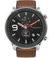 Amazfit GTR 47mm Smartwatch Edelstahlgehäuse, braunes Armband