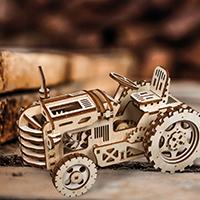 Foxom 3D Puzzle Lasergeschnittenes Holzpuzzle - Traktor 3D Hölzernes Puzzle Montage Konstruktor Kit - Geschenk für Erwachsene Kinder ab 14 Jahren