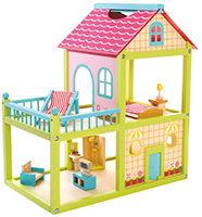 Großes Puppenhaus mit 2 Etagen und Terrasse