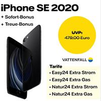 Smarte Tarife & Prämien bei Vattenfall: Strom oder Gas Vertrag im Jahr 2021 mit gratis iPhone SE 2020 oder Sonos One abschließen