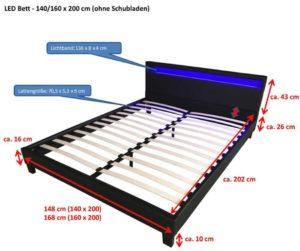 Bett mit LED Beleuchtung