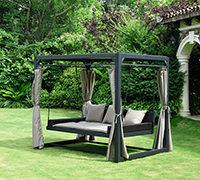 Gartenausstattung: Home Deluxe Pavillon Provence mit Bett in Rattan-Optik