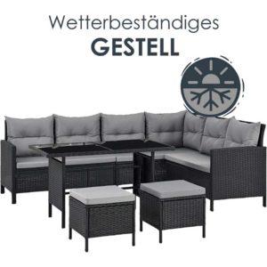 Wetterbeständige Lounge für den Garten mit Platz für bis zu 7 Personen