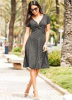 летнее чёрное платье в белый горошек