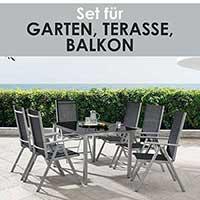 ArtLife Aluminium Gartengarnitur Milano Gartenmöbel Set mit Tisch und 8 Stühlen silber-grau