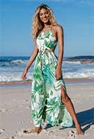Strandkleid bodenlang mit Blattmuster aus Polyester