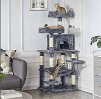 Kratzbaum mit Sisal-Kratzstangen Hängematte, Höhle, Spielsisal 147 cm Kletterbaum für Katzen