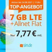 7 GB LTE Datenvolumen und eine Allnet-Flat sind aktionsweise für nur 7,77 € monatlich