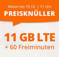 11 GB LTE + 60 Freiminuten für 7,77 EUR im Monat